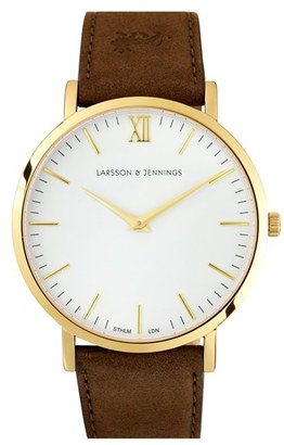 Larsson & Jennings 'Lugano' Leather Strap Watch, 40Mm $295 thestylecure.com
