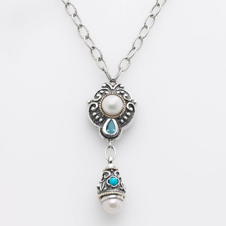 14k Gold & Sterling Silver Freshwater Cultured Pearl, Turquoise & Blue Topaz Y Necklace