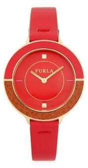 Furla Club Stainless Steel & Leather-Strap Watch