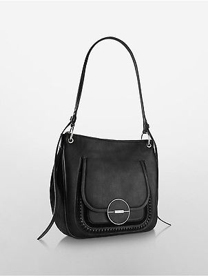 Calvin Klein Calvin Klein Womens Sloane Double Compartment Hobo Bag Black Suede
