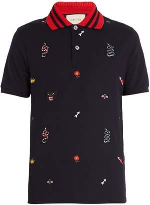 Gucci Embroidered stretch-cotton blend piqué polo shirt