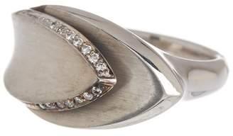 Breuning Sterling Silver Pave Diamond Halo Geo Ring