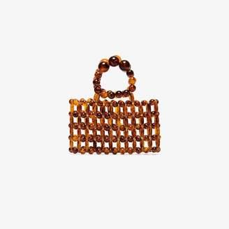 Cult Gaia Brown Cora Beaded Clutch Bag