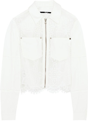 McQ Alexander McQueen - Denim And Lace Jacket - Ivory $490 thestylecure.com