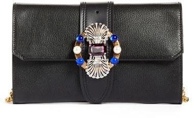 Miu MiuMiu Miu Madras Jewels Calfskin Leather Clutch - Black