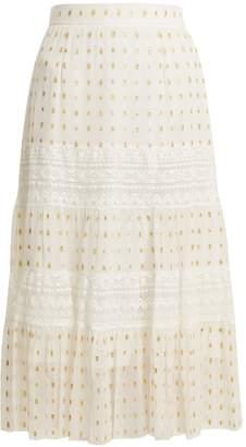 Temperley London Wondering lace-insert fil coupé chiffon midi skirt