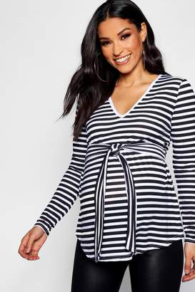 boohoo Maternity Stripe V Neck Front Knot Top