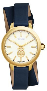 Tory Burch Tory Burch Collins Goldtone and Leather Strap Watch