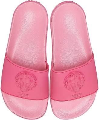 Versace Versus Lion Head Pink Rubber Women's Slide Sandals