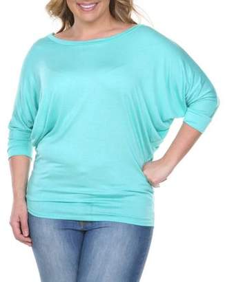 White Mark Women's Plus Size Dolman Top