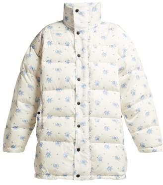Balenciaga Oversized Padded Down Filled Jacket - Womens - White Print