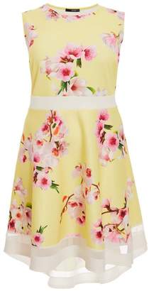 Quiz Curve Yellow Floral Dip Hem Skater Dress