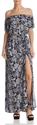 Aqua Paisley Off-the-Shoulder Maxi Dress - 100% Exclusive
