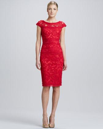 Tadashi Shoji Cap-Sleeve Lace-Overlay Cocktail Dress, Rose