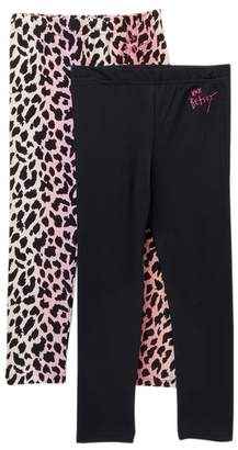 Betsey Johnson Ombre Leopard & Solid Knit Leggings - Pack of 2 (Big Girls)