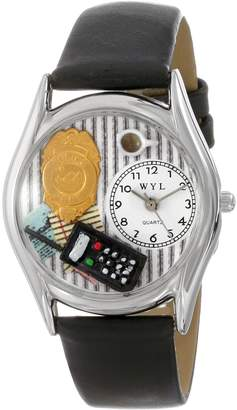 Whimsical Watches Women's S0620013 Police Officer Black Leather Watch
