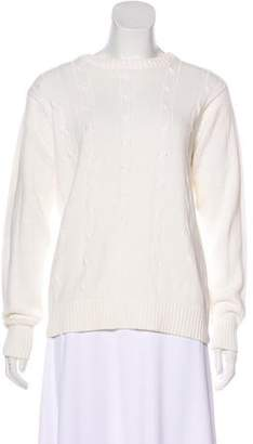 Oscar de la Renta Cable Knit Long Sleeve Sweater