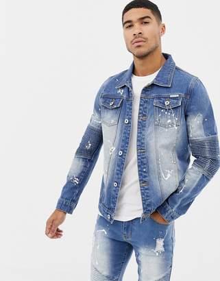 N. Liquor Poker biker jacket with paint splatter in blue