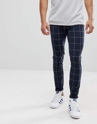 Asos Design DESIGN super skinny smart trousers in navy check with turn up
