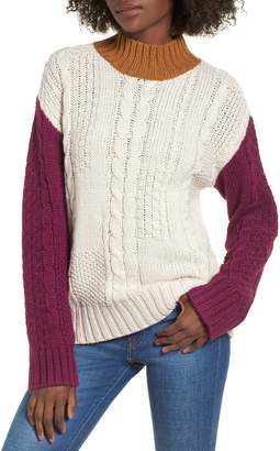 BP Colorblock Cable Knit Pullover