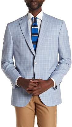 David Donahue Blue Plaid Two Button Notch Lapel Wool Classic Fit Sport Coat