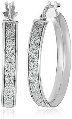 Sterling Silver Italian Rhodium Plated 20mm Sparkle Hoop Earrings