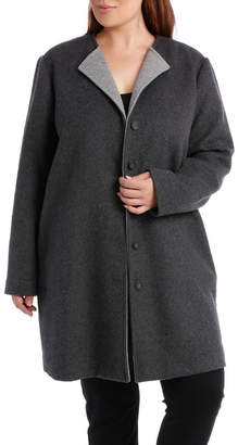Double Faced Collarless Coat-Charcoal Marle/Grey Marle