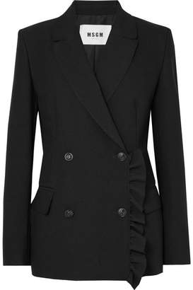 MSGM Ruffle-trimmed Stretch-crepe Blazer - Black