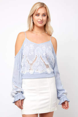 Willow & Clay Long Sleeve Eyelet Embroidered Top