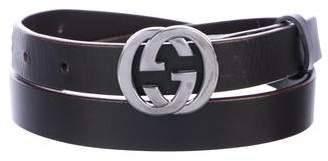 922b3e0fc90 Gucci Brown Leather Gg Belt - ShopStyle
