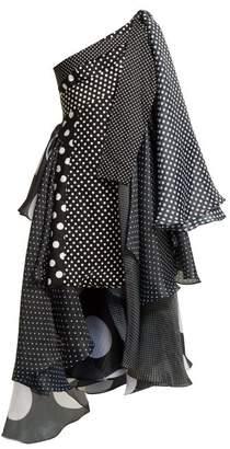 Richard Quinn Asymmetric Polka Dot Dress - Womens - Black White