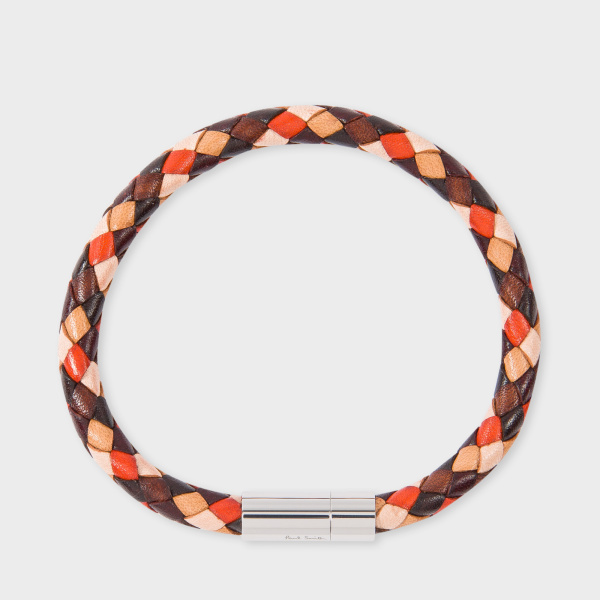 Paul SmithMen's Brown And Orange Leather Plaited Bracelet
