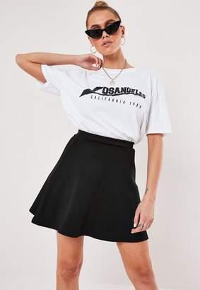Missguided Black Scuba Flippy Mini Skirt