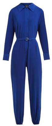 Norma Kamali Point Collar Jersey Crepe Jumpsuit - Womens - Blue