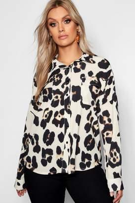 boohoo Plus Leopard Pocket Detail Shirt