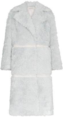 Vika Gazinskaya double breasted panelled mohair alpaca blend coat