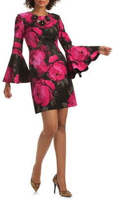 Trina Turk Splendid Bell Sleeve Floral-Print Shift Dress $378 thestylecure.com