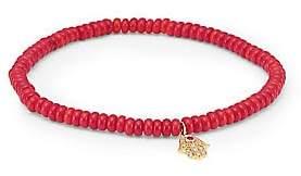 Sydney Evan 14K Yellow Gold, Diamond, Ruby& Coral Hamsa Beaded Bracelet