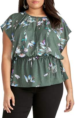 Rachel Roy Plus Floral Flutter-Sleeve Top