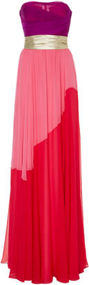 Reem Acra Strapless Color Block Gown