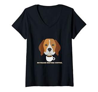 Womens Funny Grumpy Beagle Dog And Coffee Lover V-Neck T-Shirt