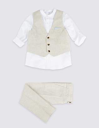 Marks and Spencer 3 Piece Linen Rich Outfit (3 Months - 7 Years)