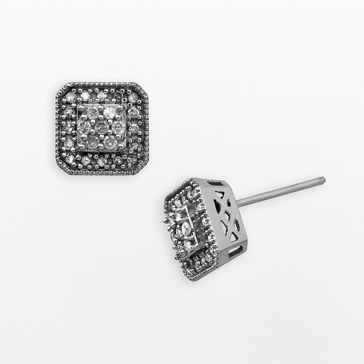 10k White Gold 1/4-Ct. T.w. Diamond Square Cluster Stud Earrings