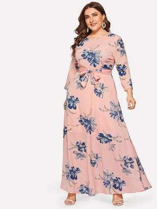 Shein Plus Floral Print Self-tie Waist Dress