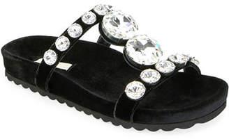 Miu Miu Jeweled Velvet Platform Sandals