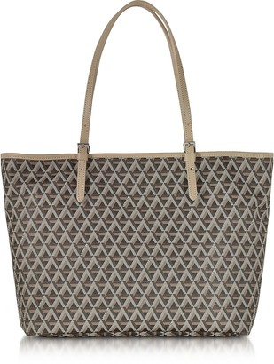 Ikon Lancaster Paris Brown & Nude Coated Canvas and Leather Tote Bag