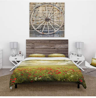 Design Art Designart 'Wild Poppies On Cloudy Background' Rustic Duvet Cover Set - Queen Bedding