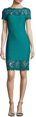 Tadashi Shoji Lace-Trim Bandage Cocktail Dress, Blue $348 thestylecure.com