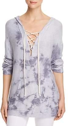 Vintage Havana Tie-Dye Lace-Up Hooded Sweater