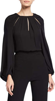 Zac Posen Georgette Cutout-Neck Full-Sleeve Blouse